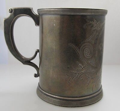 Wood & Hughes Sterling Silver Handled Cup Tankard Dated 1873 Antique