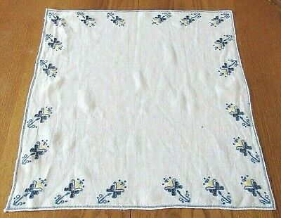 "Blue Embroidered Candle & Butterfly Square White Tablecloth 21"" x 21"""