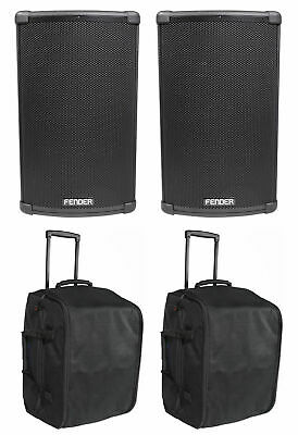 """2) FENDER FIGHTER 12"""" 1100w Powered Bluetooth DJ PA Speakers+Rolling Travel Bags"""