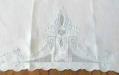 "Light,Pale Blue Floral Embroidered,Cut Work Hand Towel,Table Runner,17"" x 26"""