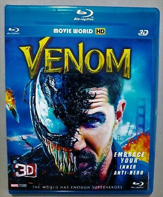 Venom (Blu-ray 3D & 2D, 2018) Region Free *SHIPPING NOW !!