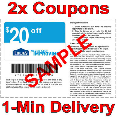 2x Lowes $20 OFF $100 INSTANT Discount Fastest DELIVERY-1COUPON INSTORE/ONLINE