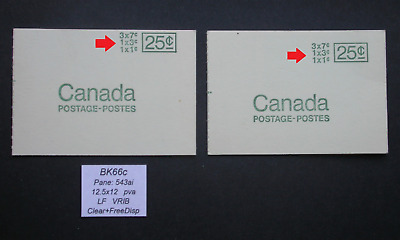 BK66c with Miscut Cover ~ Pane 543a  ~ Canada Centennial Booklet Stamps BK66 c