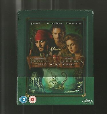 Pirates Of The Caribbean Dead Mans Chest - Uk Exclusive Blu Ray Steelbook - New