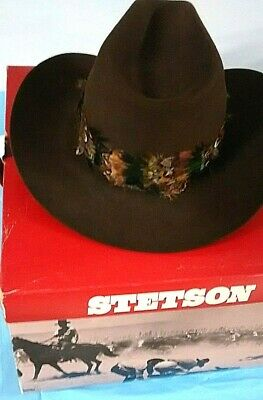 Men s Vintage STETSON STAMPEDE CHOCOLATE brown COWBOY HAT Size 7 FREE  SHIPPING 474d8ca973e