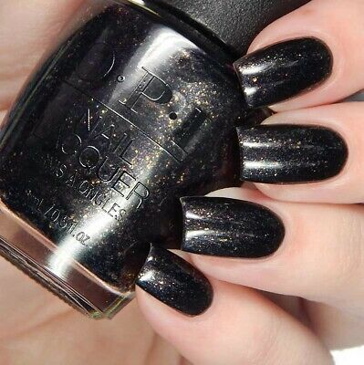 OPI XOXO TOP THE PACKAGE WITH A BEAU Black w/ Gold Flake Nail Polish  Lacquer J11