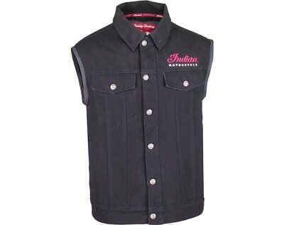 Genuine Indian Motorcycle Men's Black Canvas Highway Vest Size 4XL