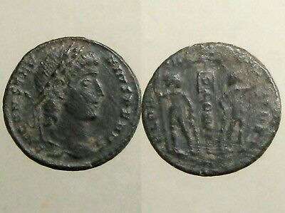 CONSTANTIUS II BRONZE AE4___Son of Constantine the Great__SOLDIERS & STANDARD