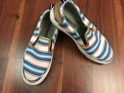 c7b8acab9cd3 Tommy Hilfiger Women s Slip On Tennis Shoes Canvas Blue White Red ...