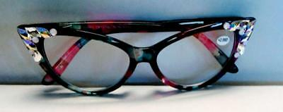 fc0f81a2063 2.00 READING GLASSES CAT EYE JIMMY CRYSTAL NY BLING USING Swarovski Elements