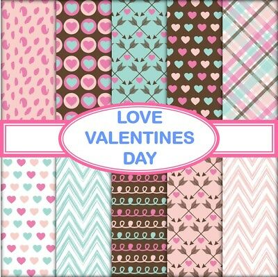 LOVE VALENTINES DAY SCRAPBOOK PAPER - 10 x A4 pages