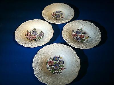 "4 Wedgwood Etruria Garden Party Rimmed Soup Bowls 8 5/8"" Cream Colored"