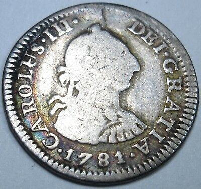 1781 Spanish Silver 1/2 Reales Piece of 8 Real Coin US Colonial Pirate Treasure