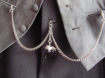Chester 1923 Double Silver Albert Pocket Watch Chain Leo Lion Silver Charm Fob