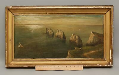 19thC Antique Signed English Oil Painting, Isle of Wight Needles & Lighthouse NR