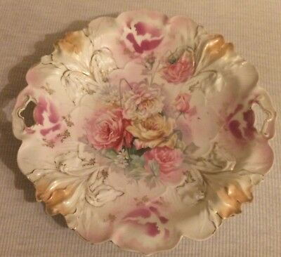 Beautiful Antique Open Handled RS Prussia Plate With Flowers - As Found -