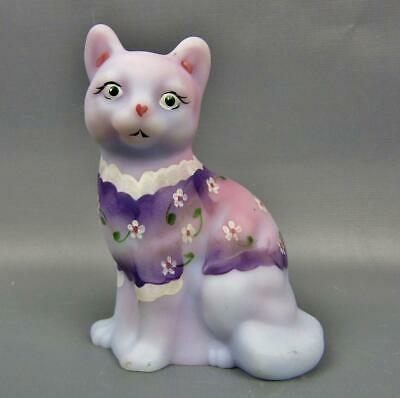 Fenton / QVC BLUE BURMESE Cat Figurine Dressed in HP Forget-Me-Not Sweater 6245