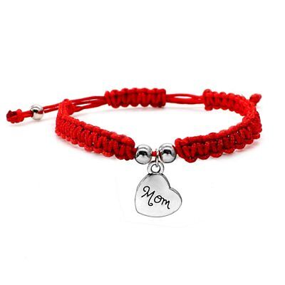 Lucky Red String Adjustable Bracelet Mom Love Heart Pendant Weave Wrist Bangle