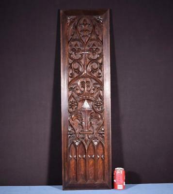 *Large French Antique Gothic Revival Panel/Plaque in Solid Oak Wood Salvage