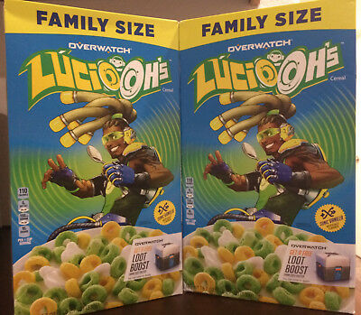 Global Shipping! 2 Boxes Kelloggs Overwatch Lucio Ohs Cereal Lucio-Ohs, Oh's