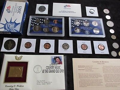 Old COINS LOT MINT+PROOF SET+1976 JFK Half +1900 Penny +Gold Stamp p.Cline  #131