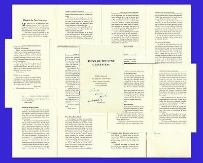 """HERBERT HOOVER.  31st US Pres. Signed Copy of 1949 speech - mentions """"COLD WAR"""""""