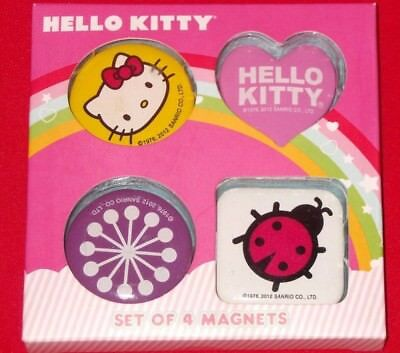 Hello Kitty Magnets Set of 4 Multi Color Heart Circle Square Sanrio