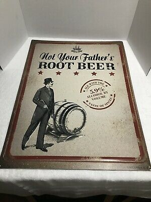 """Not Your Fathers Root Beer Tin Sign Small Town Brewery Craft Beer 18"""" X 24"""""""