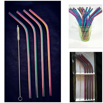 4x Stainless Steel Metal Drinking Straw Straws Bent Reusable Washable+Brushes