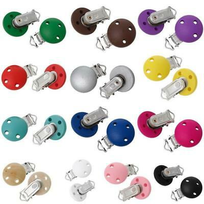 5 Colors Wood CLIP ON DUMMY/SOOTHER/PACIFIER CHAIN Wooden Baby/Toddler Toy - CB