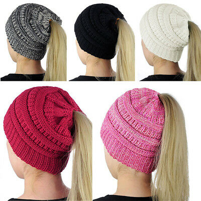 Women's Girl Fashion Hat Winter Warm Knit Cap Messy Bun Ponytail Beanie Hats