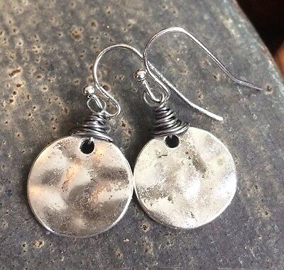 Min Favorit Turkish Silver Hammered Disc w/ Iron Wrap Artisan Drop Earrings