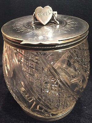 Antique Victorian Cut Glass Stunning Biscuit Jar Silver Lid With Heart