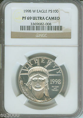 1998-W $100 STATUE LIBERTY PLATINUM 1 Oz. NGC PR69 PROOF PF69