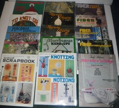 Lot of 15 Vintage Macrame Pattern Books Christmas Lamps Baby Hammock Table Bowl