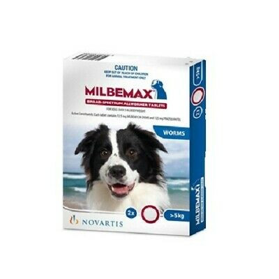 Milbemax Dog 2 Tabs Over 5kg Body Weight Allwormer (WMD2)