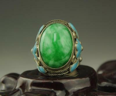 Exquisite Chinese Old Inlay Green Jade Old Tibet Silver Cloisonne Flower Ring Rr