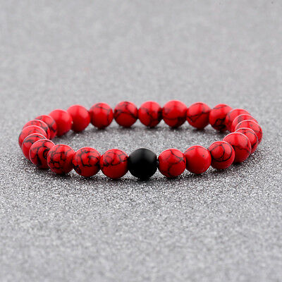 Fashion Women Natural Red Agate Onyx Stone Bead Distance Bracelets For Her Gift