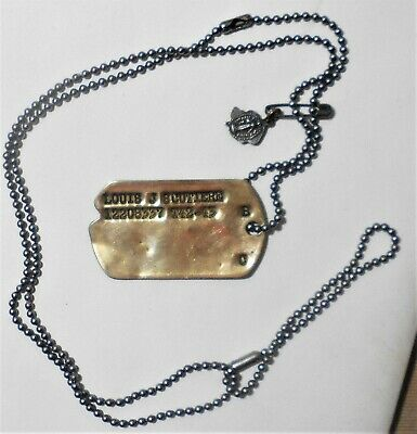 Vintage Original Ww 2 Single Us Gi Notched Dog Tag  With Chain & St. Medal