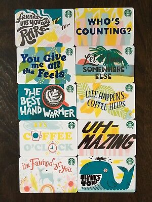 """Canada Series Starbucks """"RECYCLABLE CARD 2019 SET"""" (10) Gift Cards -New No Value"""