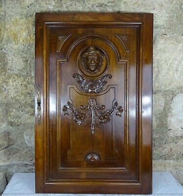 Antique Large Carved Architectural Walnut Door Panel Wood -Renaissance Style Men