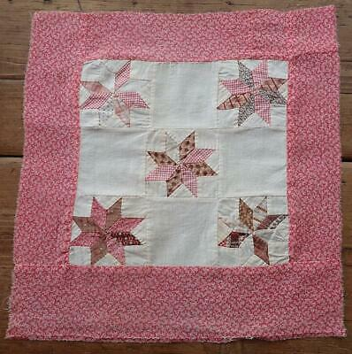 """OH MY 3"""" Stars! ANTIQUE c1860 Star Block 14"""" Make Doll Quilt, Pillow or Frame it"""