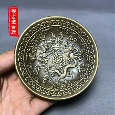 Exquisite Chinese  Silver Copper Carvings Dragon Phoenix Design Plate