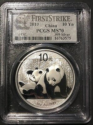 2010 PCGS MS 70 First Strike China Panda 1 Ounce .999 Fine Silver 10 Yuan Coin
