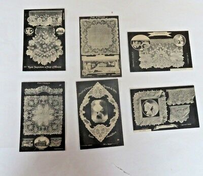 6 French POSTCARDS of ALENCON LACE , Unused but 4 Were Glued to Paper