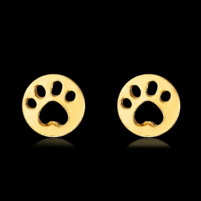 Fashion Lovely Gold Round Cat Dog Paw Print Ear Stud Animal Earrings Jewelry Hot