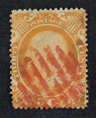 CKStamps: US Stamps Collection Scott#38 5c Franklin Used Crease Spot Thin CV$425