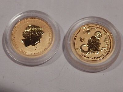 2016  1/20th~OZ. PURE .9999 GOLD  YEAR of the MONKEY  PERTH MINT IN CAPSULE