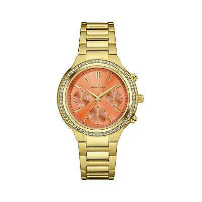 Caravelle NY Women's  Goldtone Stainless Made with Swarovski Crystal Elements