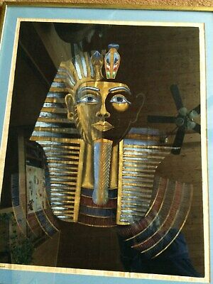 Large PAPYRUS EGYPTIAN PAINTING King Pharaoh Original Framed Signed Samir- 30X25